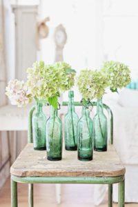 hortensia groene flessen
